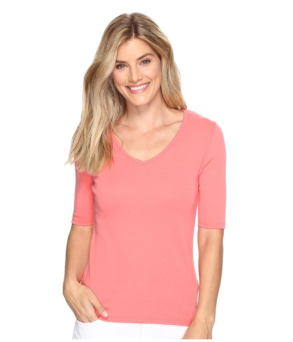 Lilla P - Elbow Sleeve V-Neck (Punch) Women's Clothing