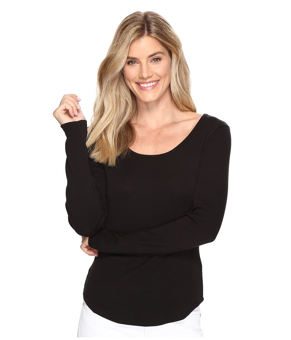 Lilla P - Long Sleeve Scoop Neck (Black) Women's Clothing