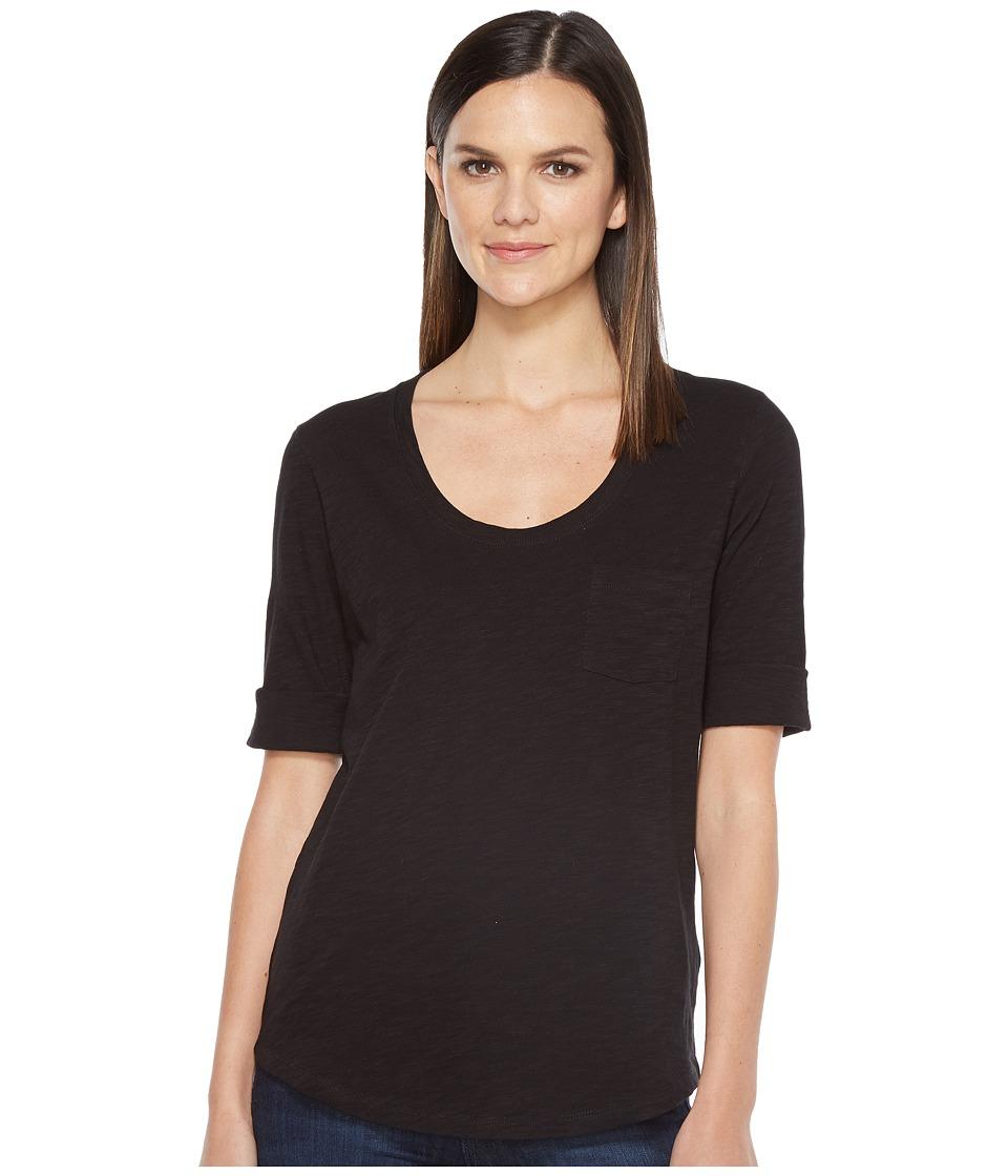 Lilla P - Elbow Sleeve Scoop Neck (Black) Women's Clothing