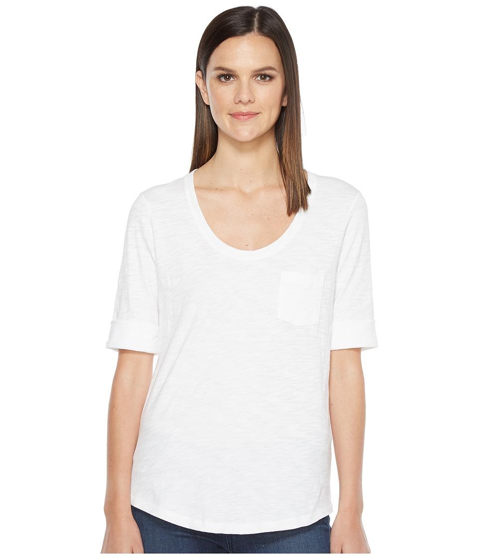 Lilla P - Elbow Sleeve Scoop Neck (White) Women's Clothing