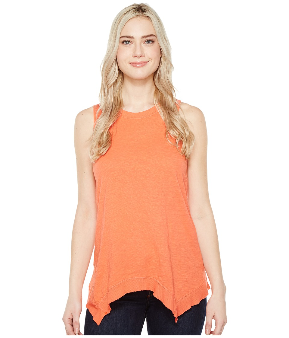 Dylan by True Grit - Soft Slub Cotton Hanky Hem Tank Top (Washed Coral) Women's Sleeveless