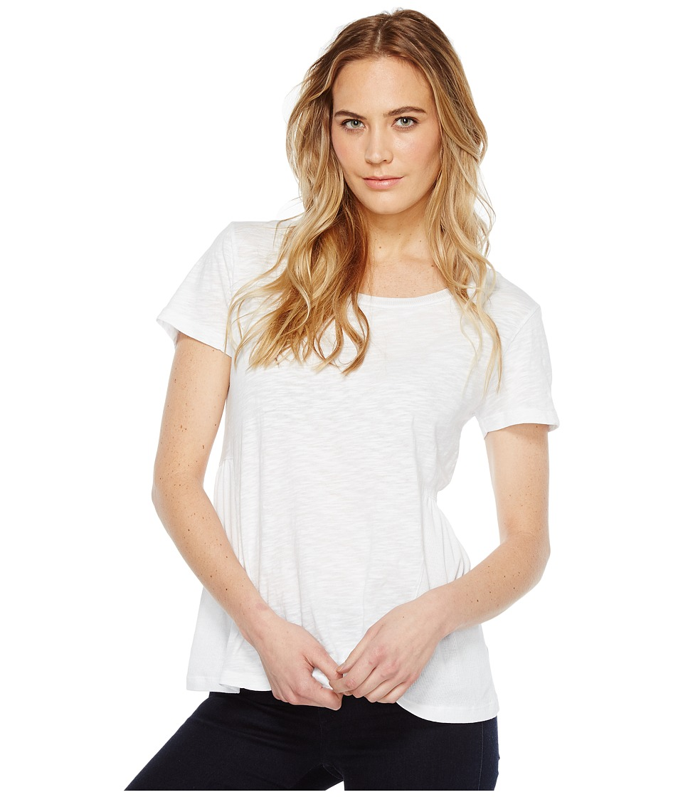 Dylan by True Grit - Soft Slub Cotton Short Sleeve Side Rib Ruffle Tee (White Tee) Women's Short Sleeve Pullover