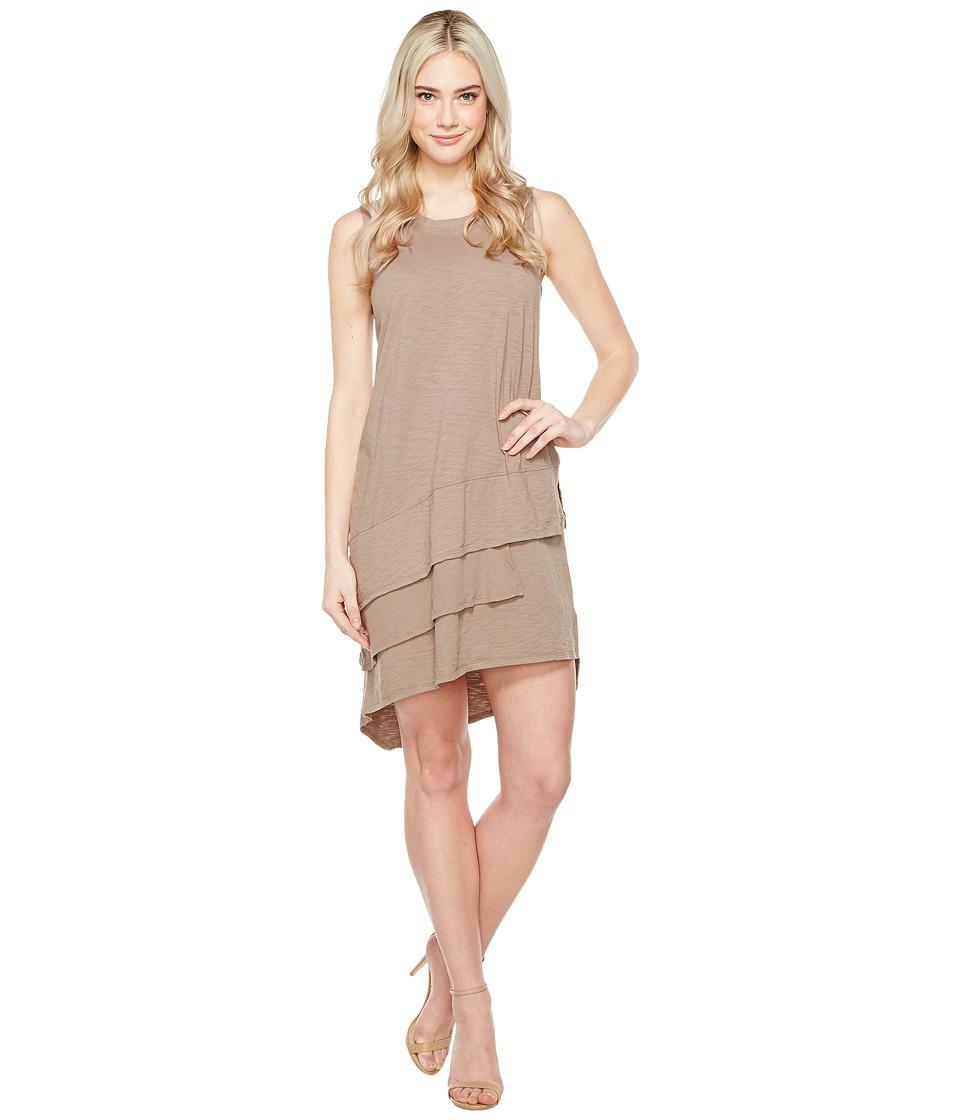 Dylan by True Grit - Luxe Cotton Slub Three Tiers Tank Dress (Gravel) Women's Dress