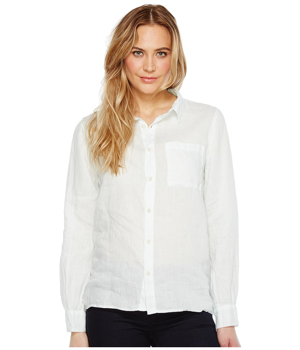 Dylan by True Grit - Luxe Linen Long Sleeve One-Pocket Boyfriend Shirt (Great White) Women's Clothing
