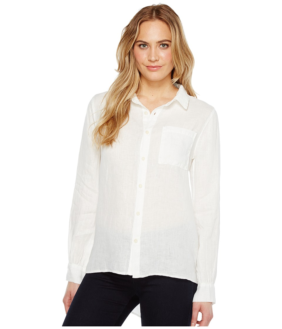 Dylan by True Grit - Luxe Linen Long Sleeve One-Pocket Boyfriend Shirt (Pale Pool) Women's Clothing
