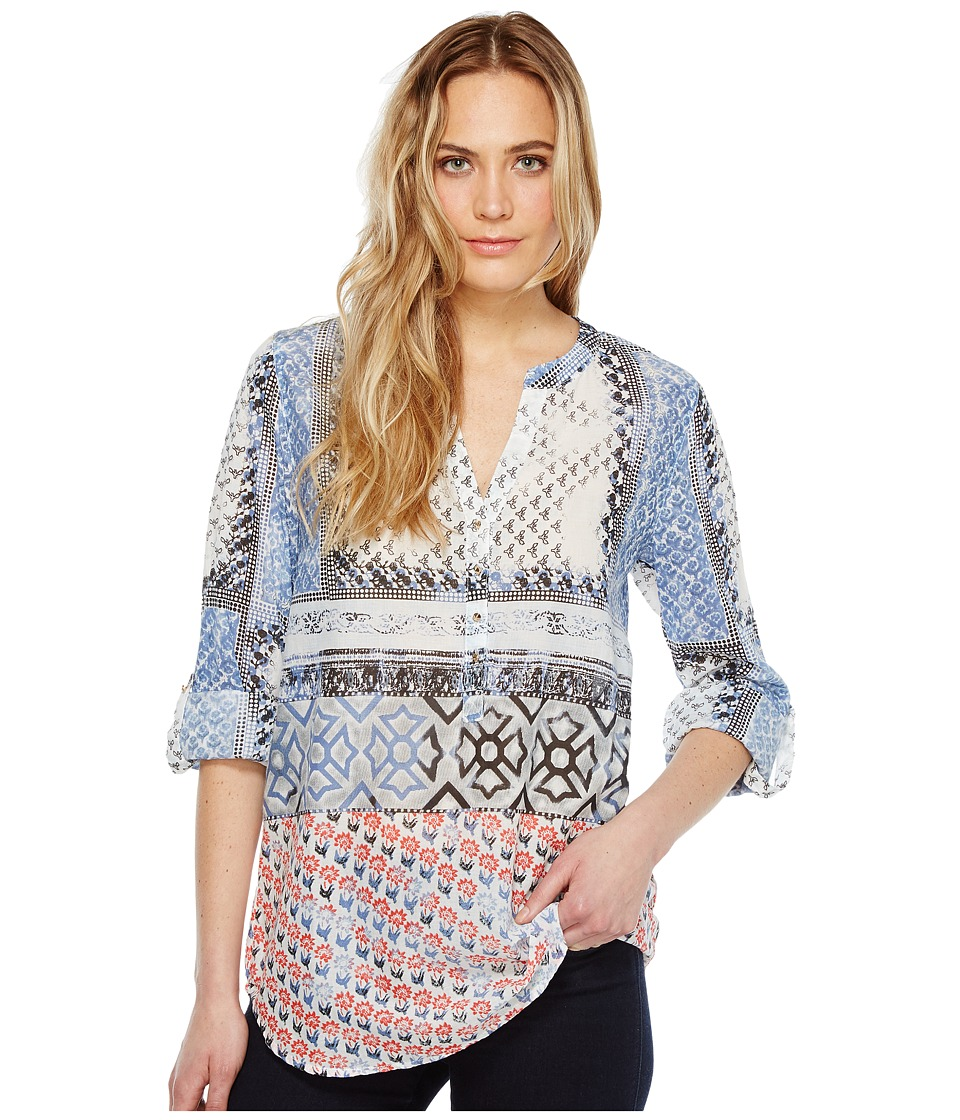 Dylan by True Grit - Harlow Block Print Roll Tab Sleeve Top (Denim/Indigo) Women's Short Sleeve Pullover