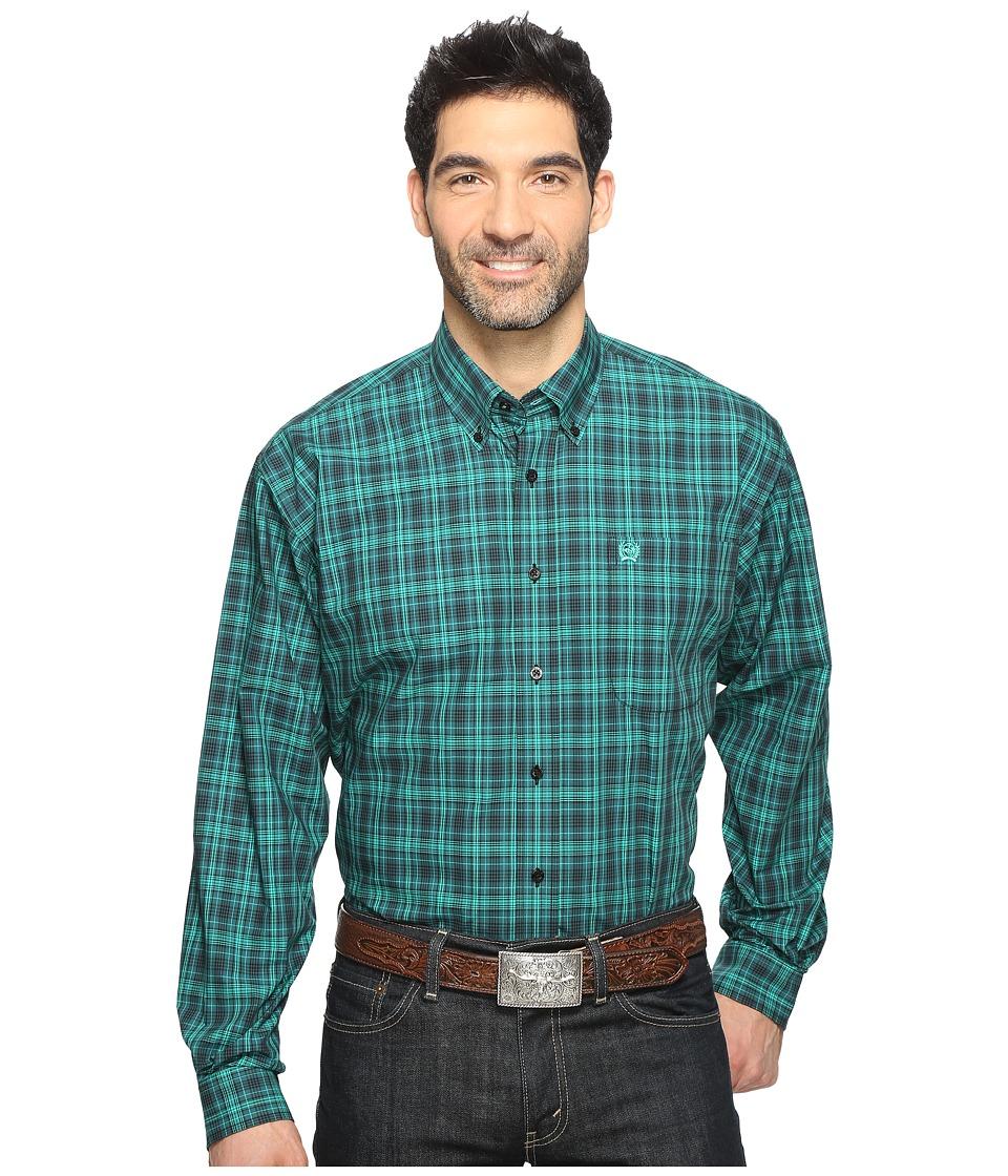 Cinch - Long Sleeve Plain Weave Plaid (Forest 2) Men's Long Sleeve Button Up