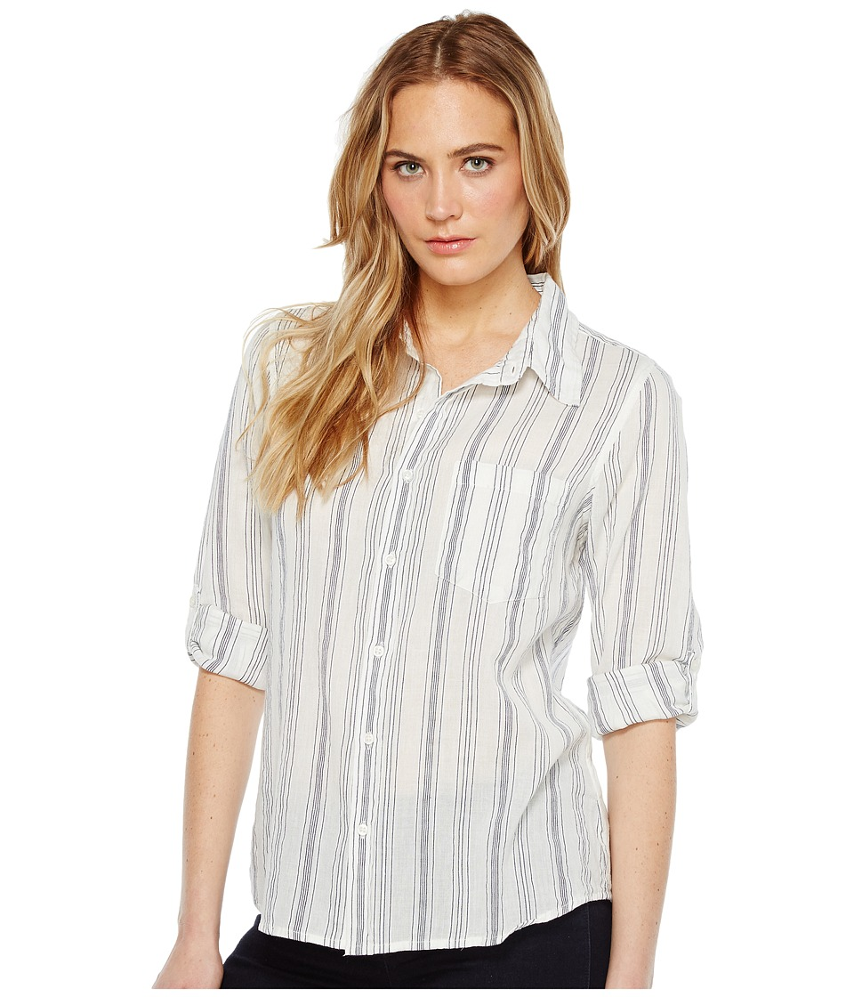 Dylan by True Grit - Sea Stripes One-Pocket Roll Sleeve Shirt (White/Indigo) Women's Long Sleeve Pullover