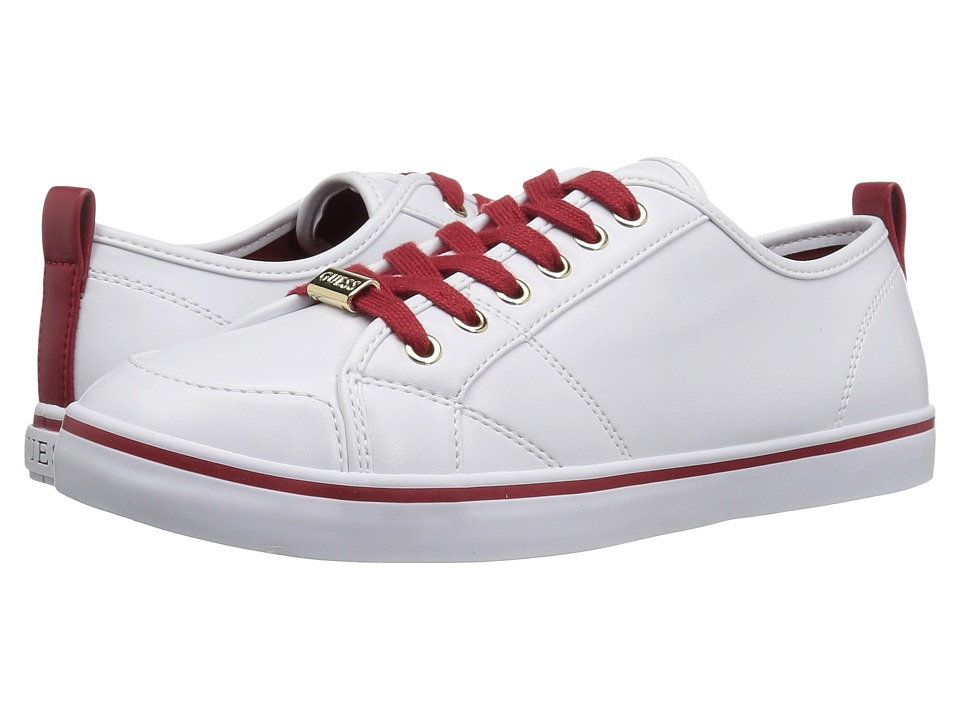 GUESS - Aire (White/Red) Women's Lace up casual Shoes