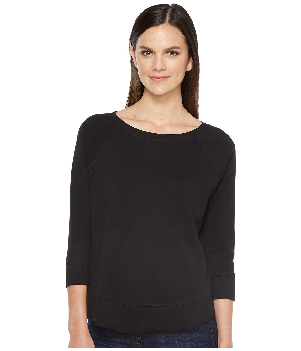 Lilla P - 3/4 Sleeve Curved Hem Tee (Black) Women's T Shirt