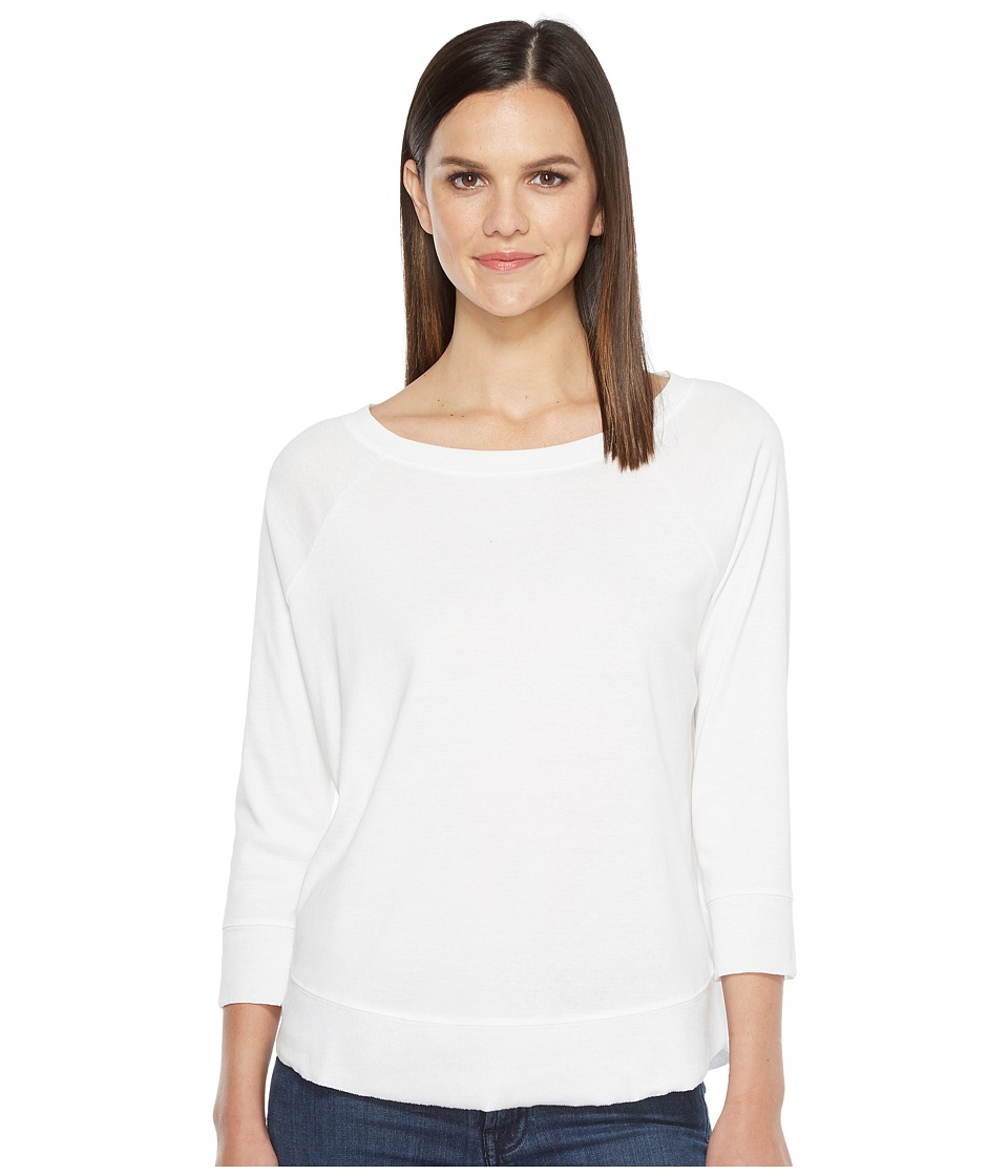 Lilla P - 3/4 Sleeve Curved Hem Tee (White) Women's T Shirt