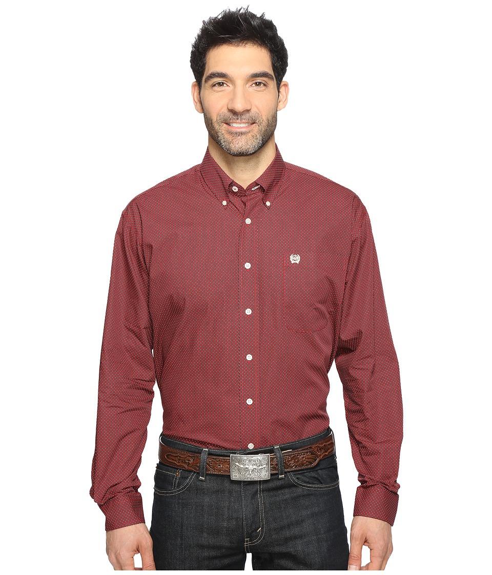Cinch - Long Sleeve Plain Weave Print (Red) Men's Long Sleeve Button Up