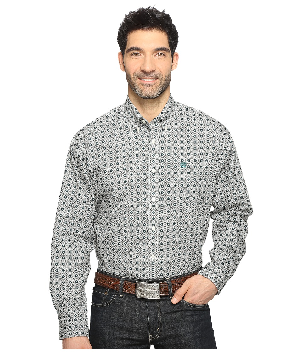 Cinch - Long Sleeve Plain Weave Print (Cream) Men's Long Sleeve Button Up