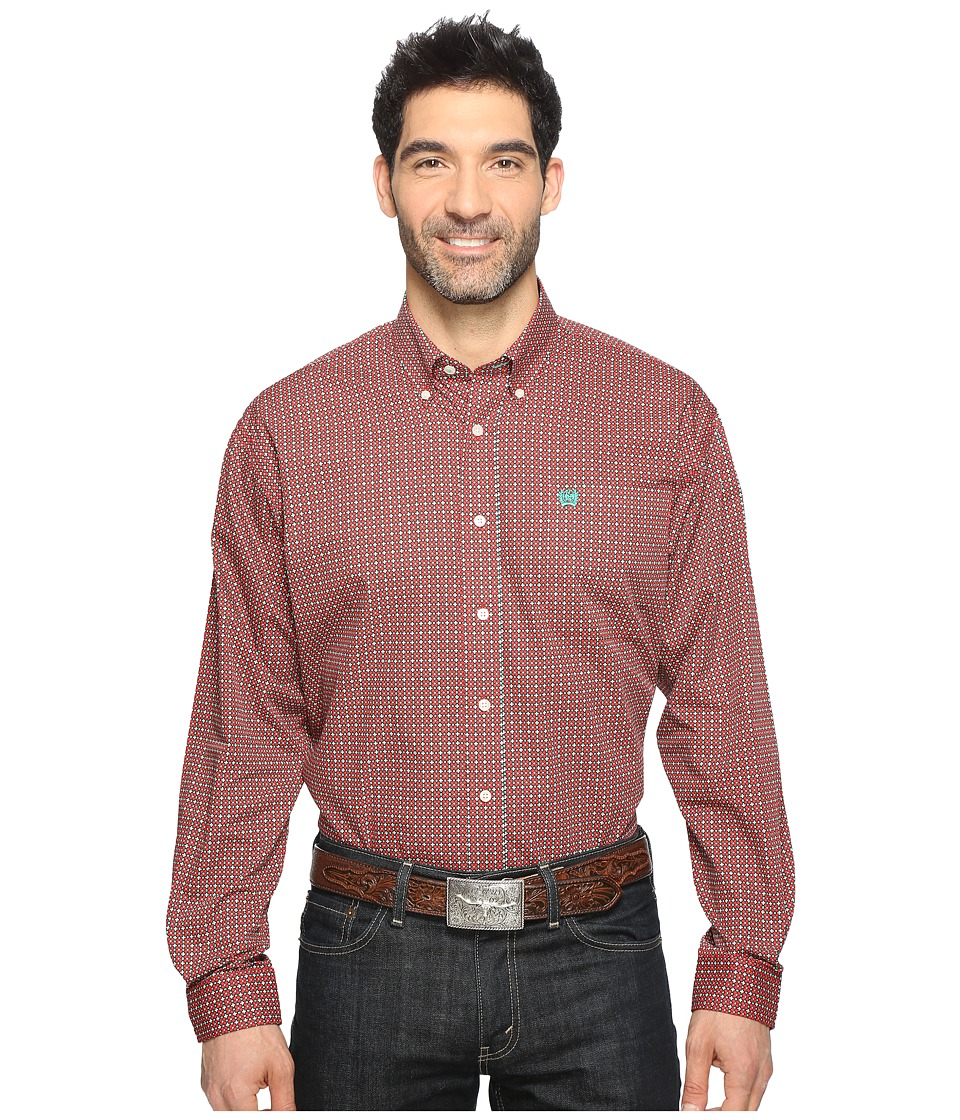 Cinch - Long Sleeve Plain Weave Print (Red 2) Men's Long Sleeve Button Up