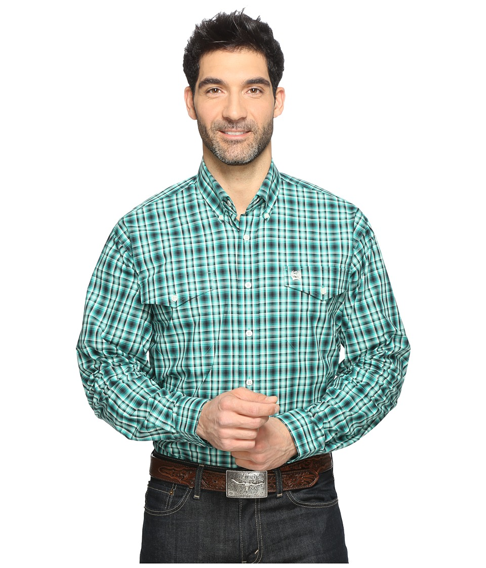 Cinch - Long Sleeve Plain Weave Double Print (Green) Men's Long Sleeve Button Up