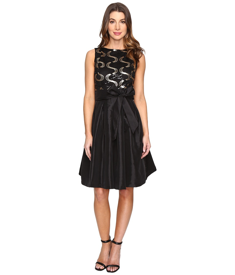 Sangria - Sleeveless Sequin Fit and Flare with Taffeta Shirt (Black) Women's Dress