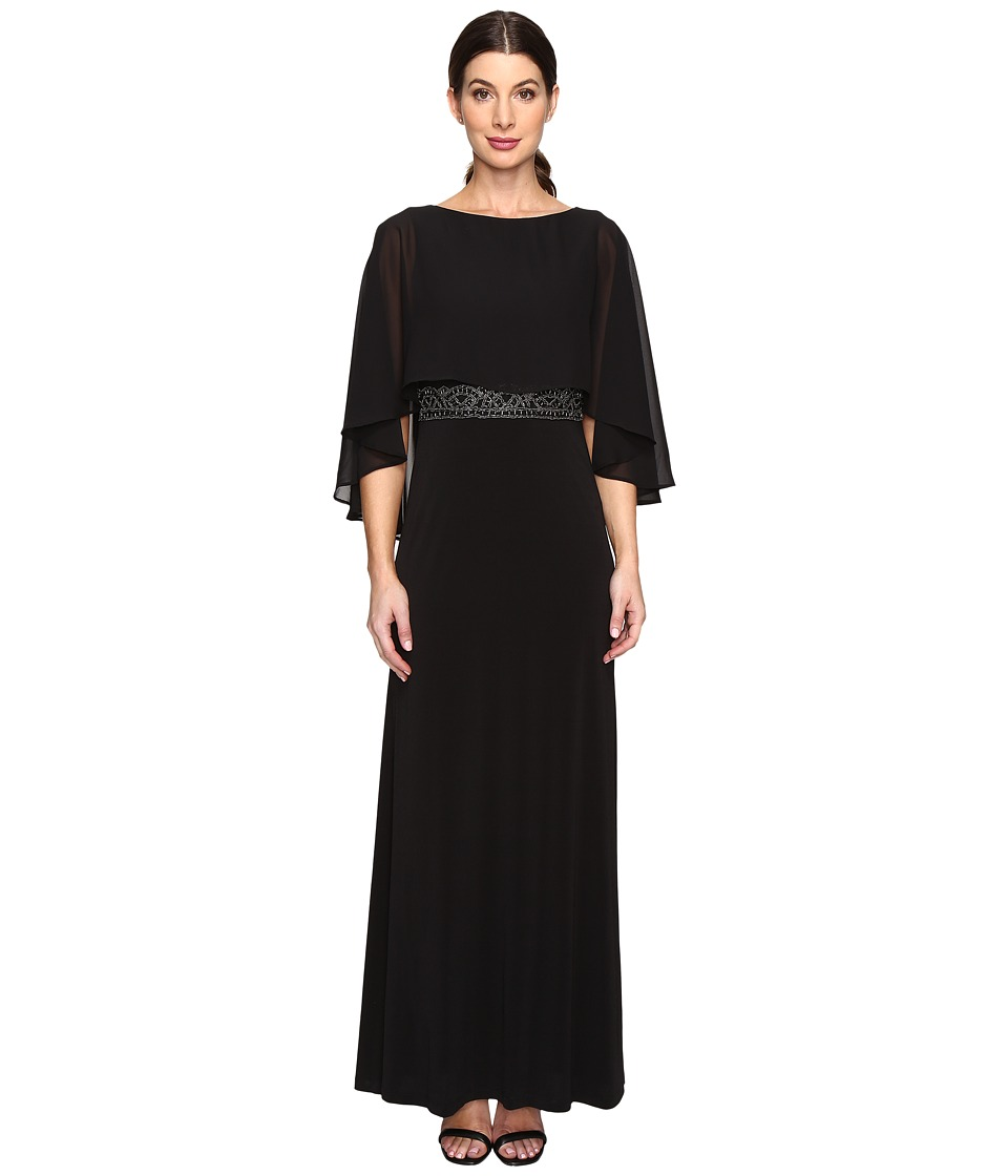 Sangria Sleeveless Chiffon Gown with Sheer Cape Overlay (Black) Women