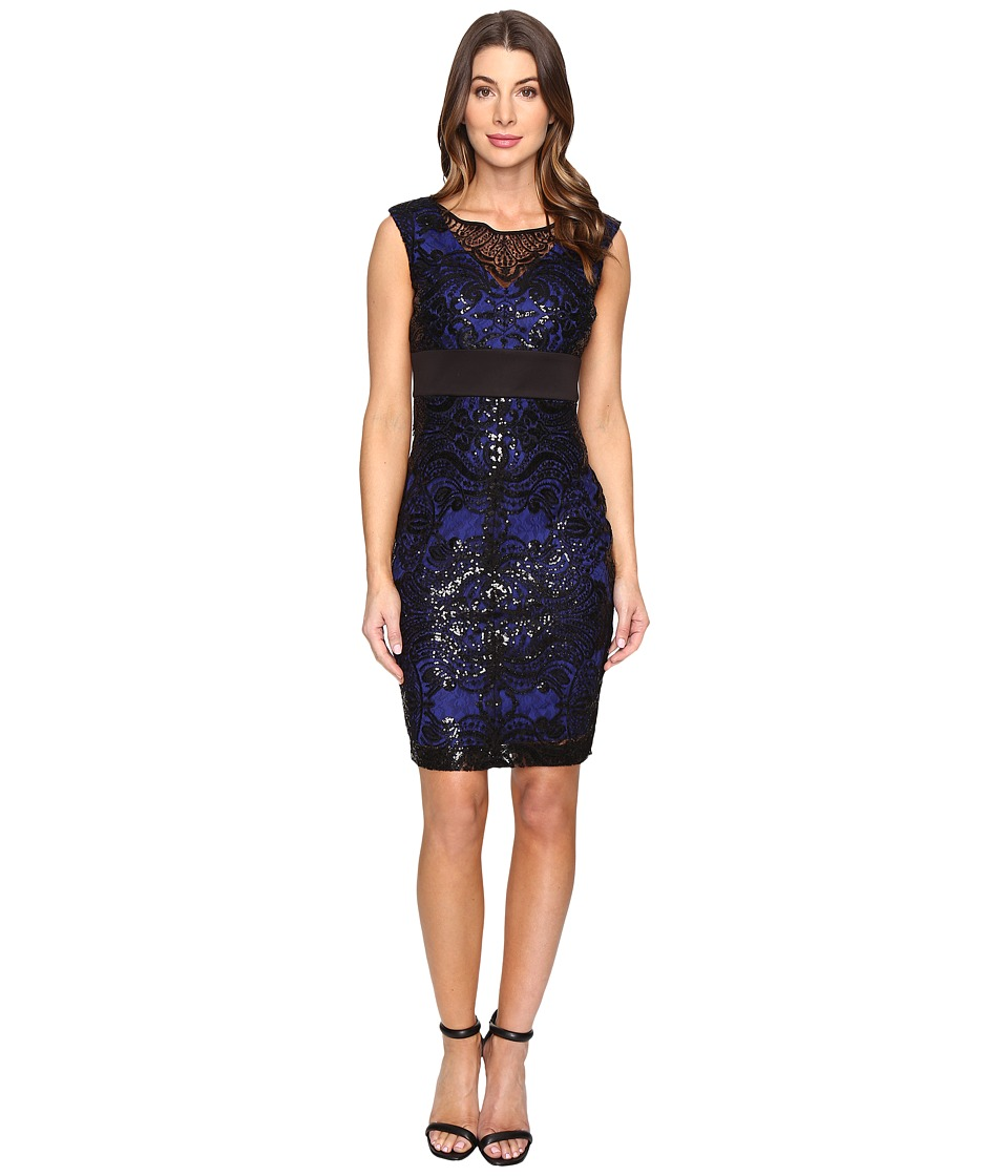 Sangria - Cap Sleeve Sequin Lace Sheath (Black/Royal) Women's Dress