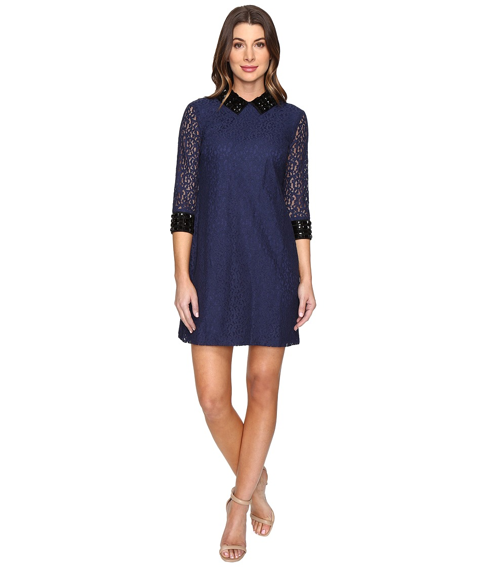 Sangria - Elbow Sleeve Lace Dress with Embellished Neck Line (Navy) Women's Dress