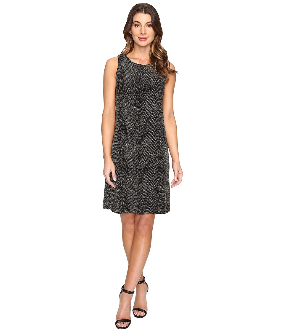 Sangria Sleeveless Sequin Shift Dress (Black/Gold) Women