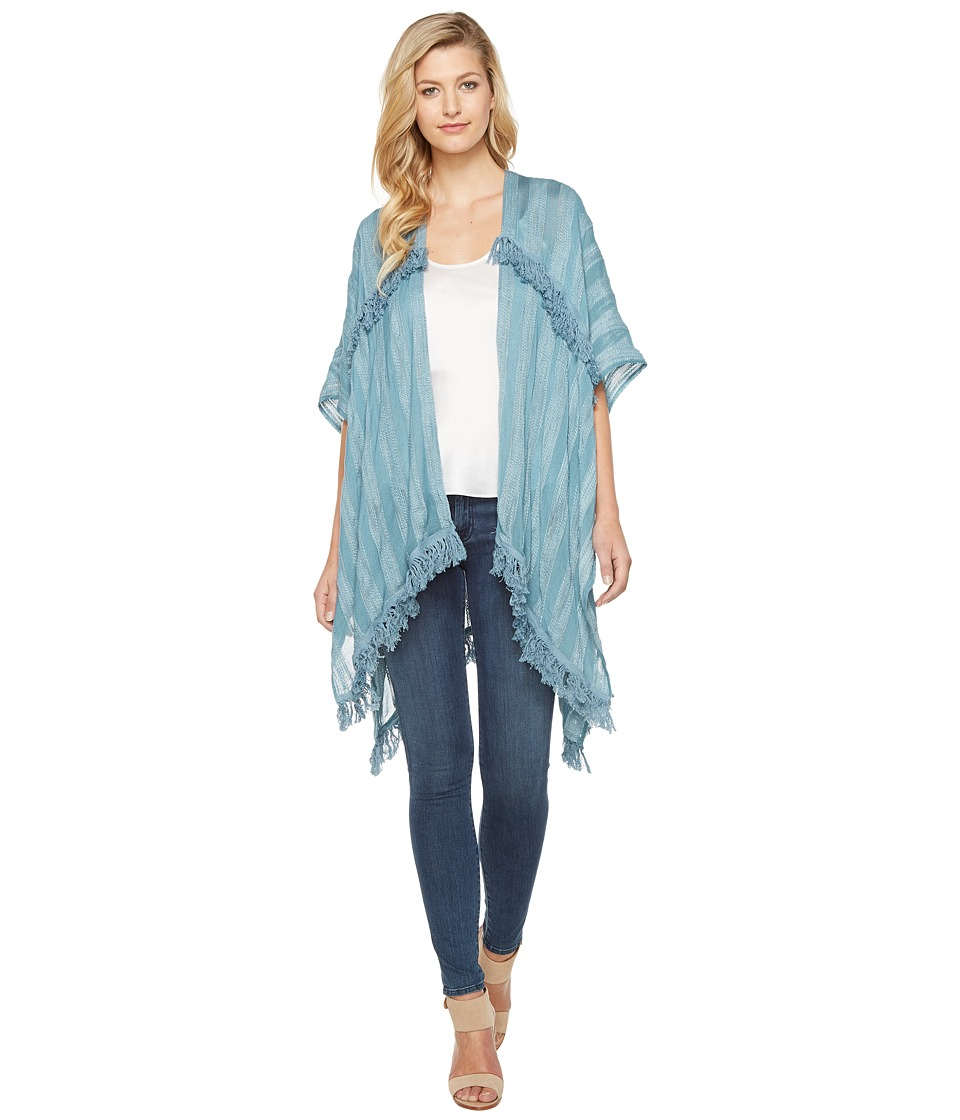Vince Camuto - Cotton Slub Tiered Fringe Topper (Blue Heaven) Women's Clothing