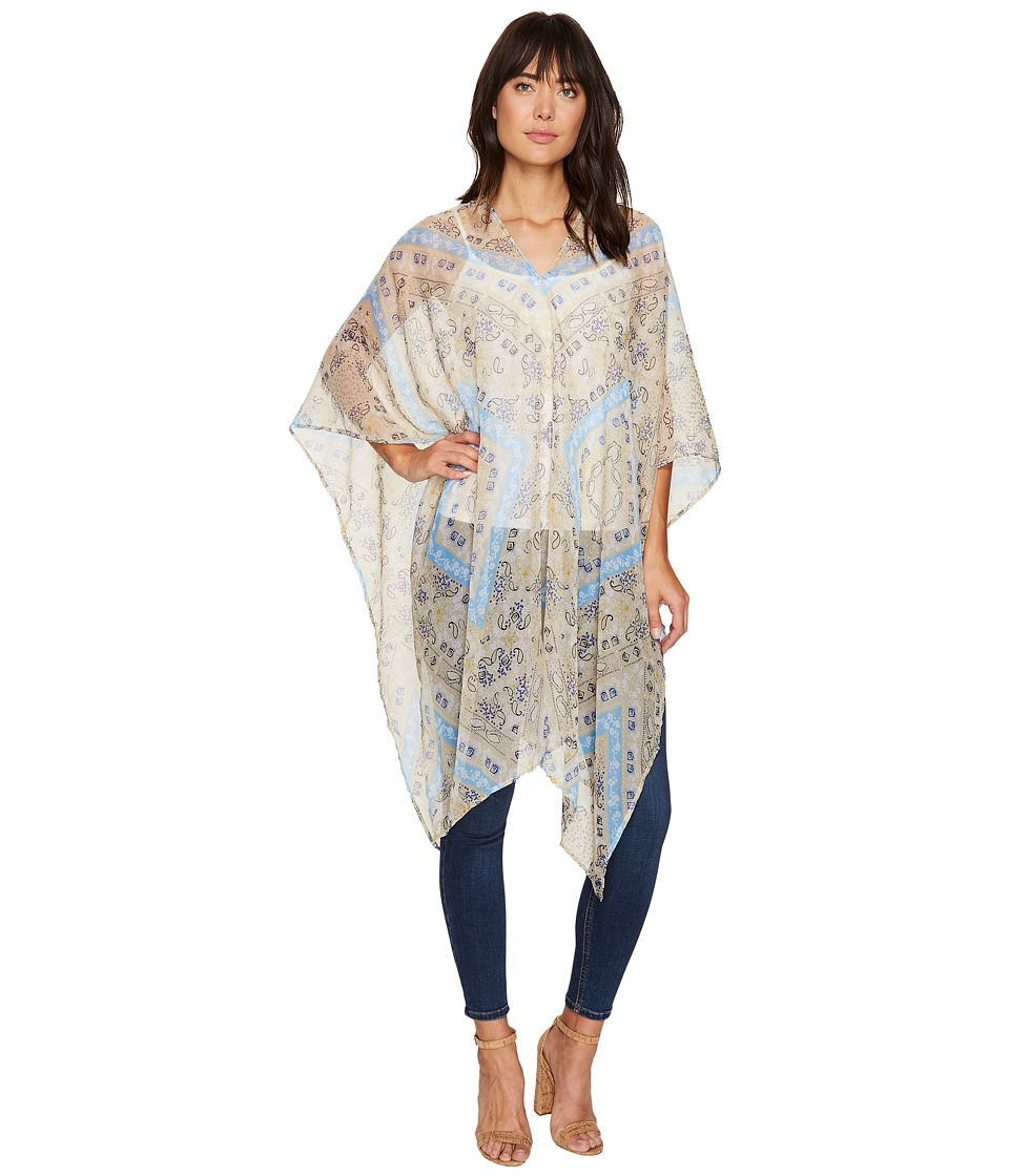 BCBGeneration - Charming Paisley Poncho (Parchment) Women's Clothing