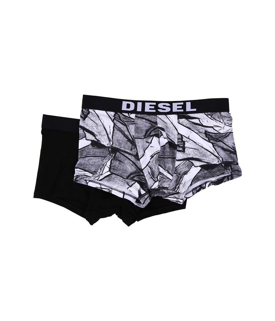 Diesel - Seasonal Print Damien 2-Pack Trunk AAOI (White Print/Black Solid) Men's Underwear