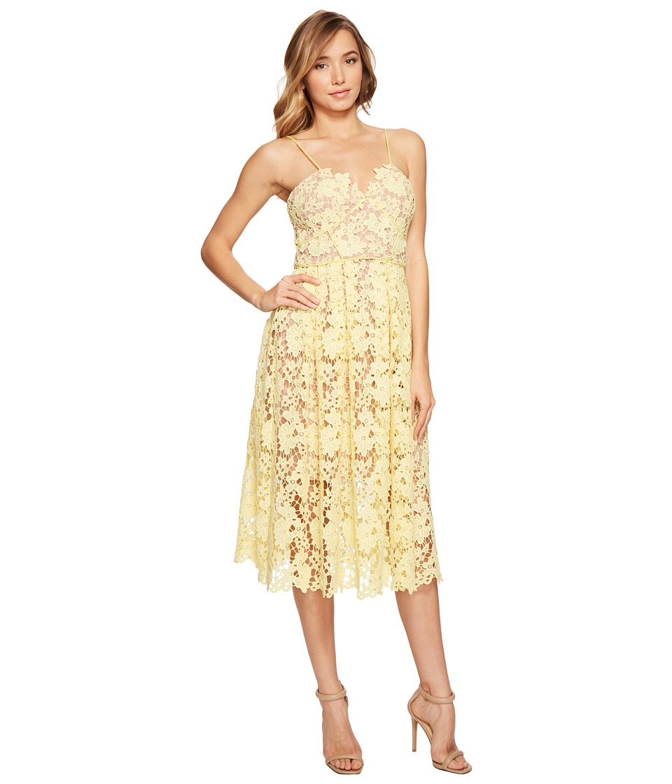 Donna Morgan - Chemical Lace Spaghetti Strap Midi (Blossom Yellow) Women's Dress