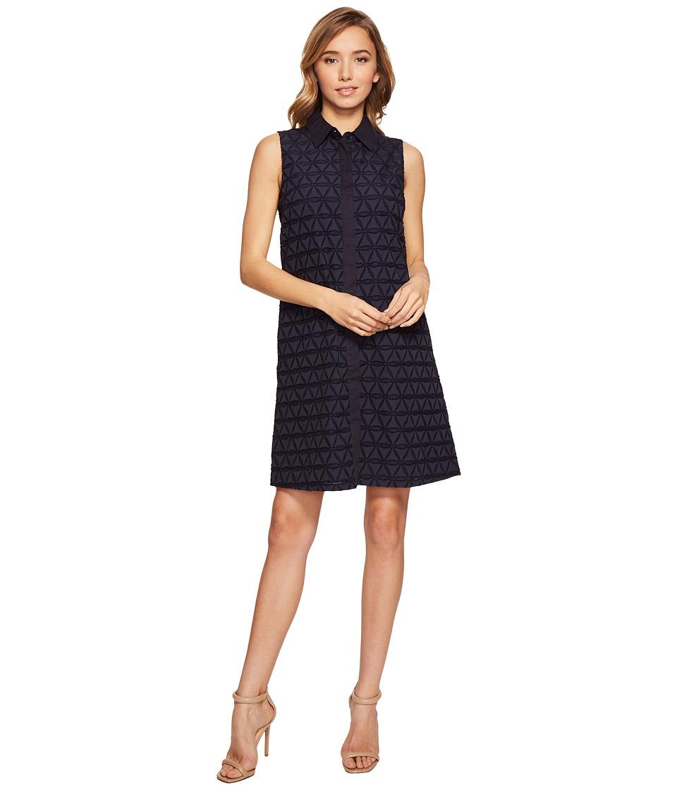 Donna Morgan - Novelty Geo Burnout Shirtdress (Marine Navy) Women's Dress