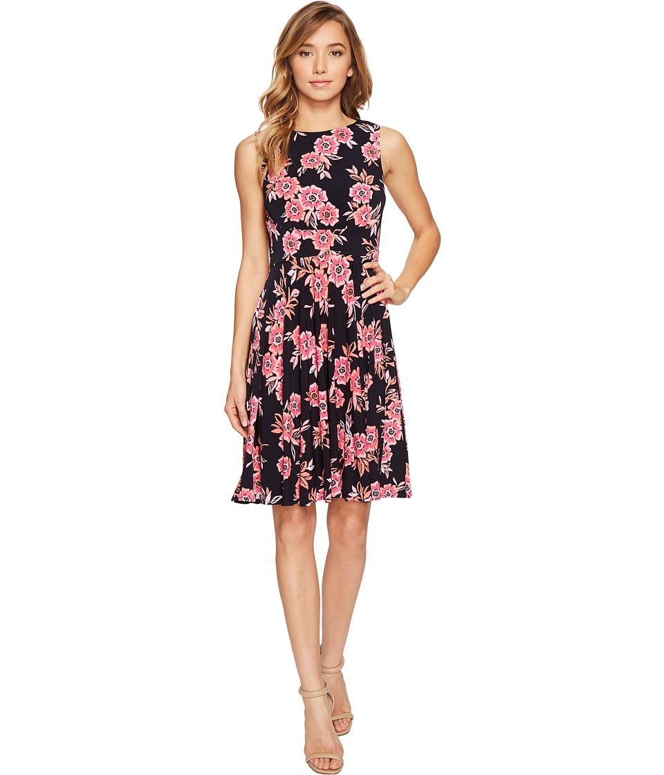 Donna Morgan - Sleeveless Matte Jersey Dress with Pleated Skirt (Marine Navy Passion Pink Multi) Women's Dress
