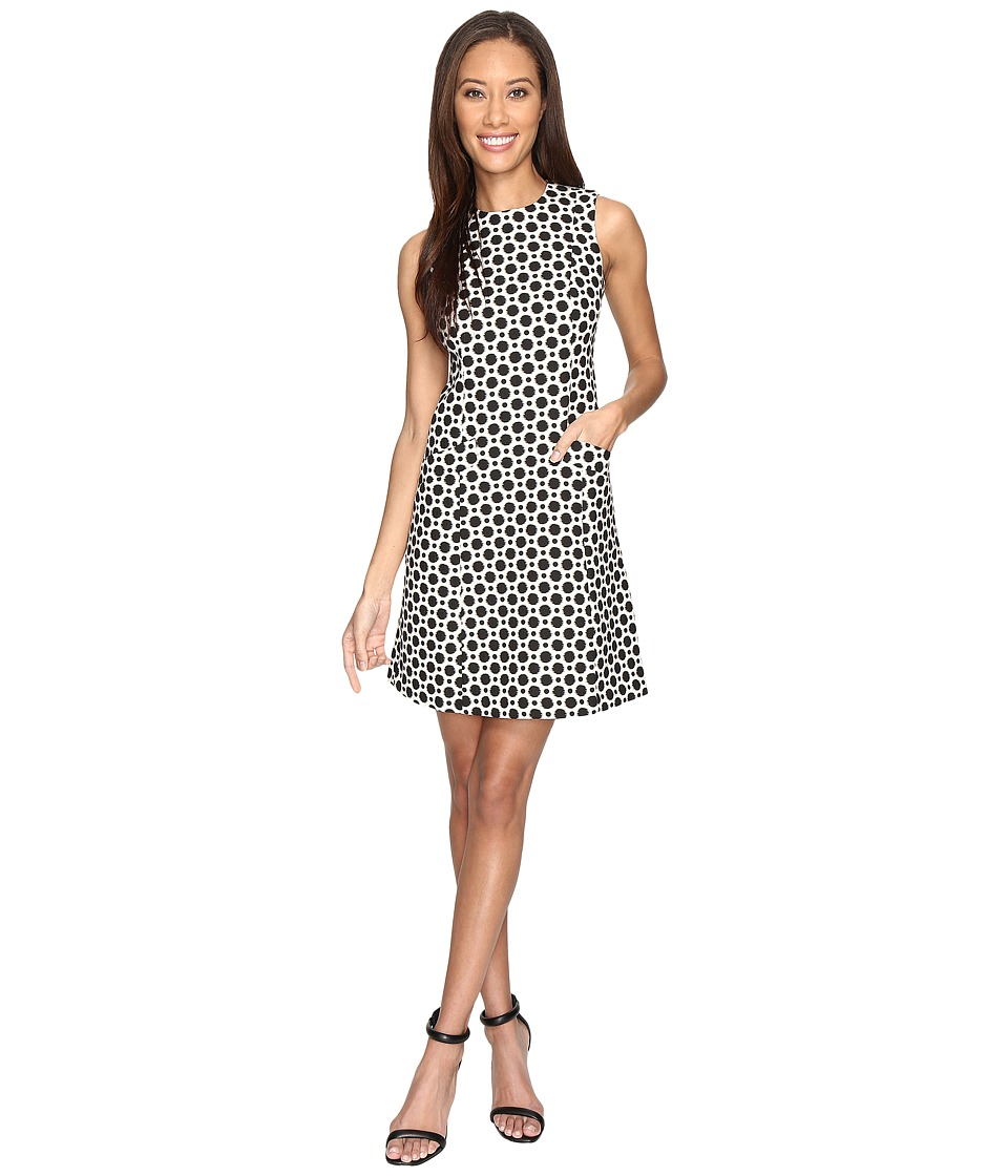 Donna Morgan - Sleeveless Seamed Woven Dot Jacquard Fit and Flare with Pockets (Black/White) Women's Dress