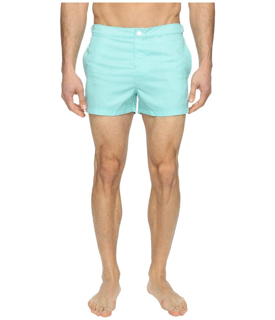 Original Penguin - Mini Gingham Printed (Bright Aqua) Men's Swimwear