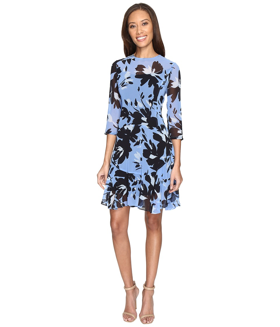 Donna Morgan - 3/4 Sleeve Aline Poly Chiffon Dress with Circle Flounce (Hydrangea Blue/Marine Navy Multi) Women's Dress