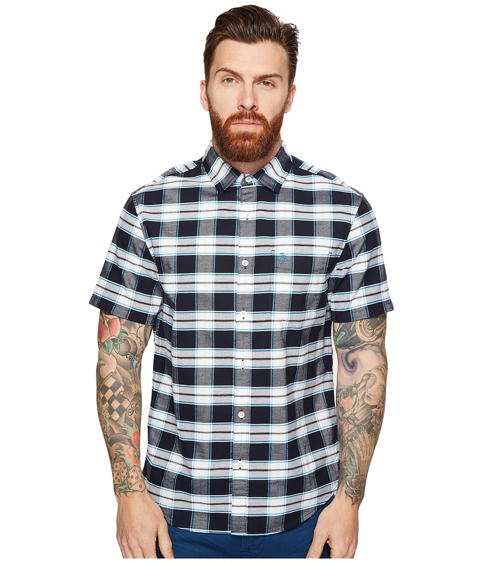 Original Penguin - Short Sleeve Plaid Oxford (Dark Sapphire) Men's Clothing
