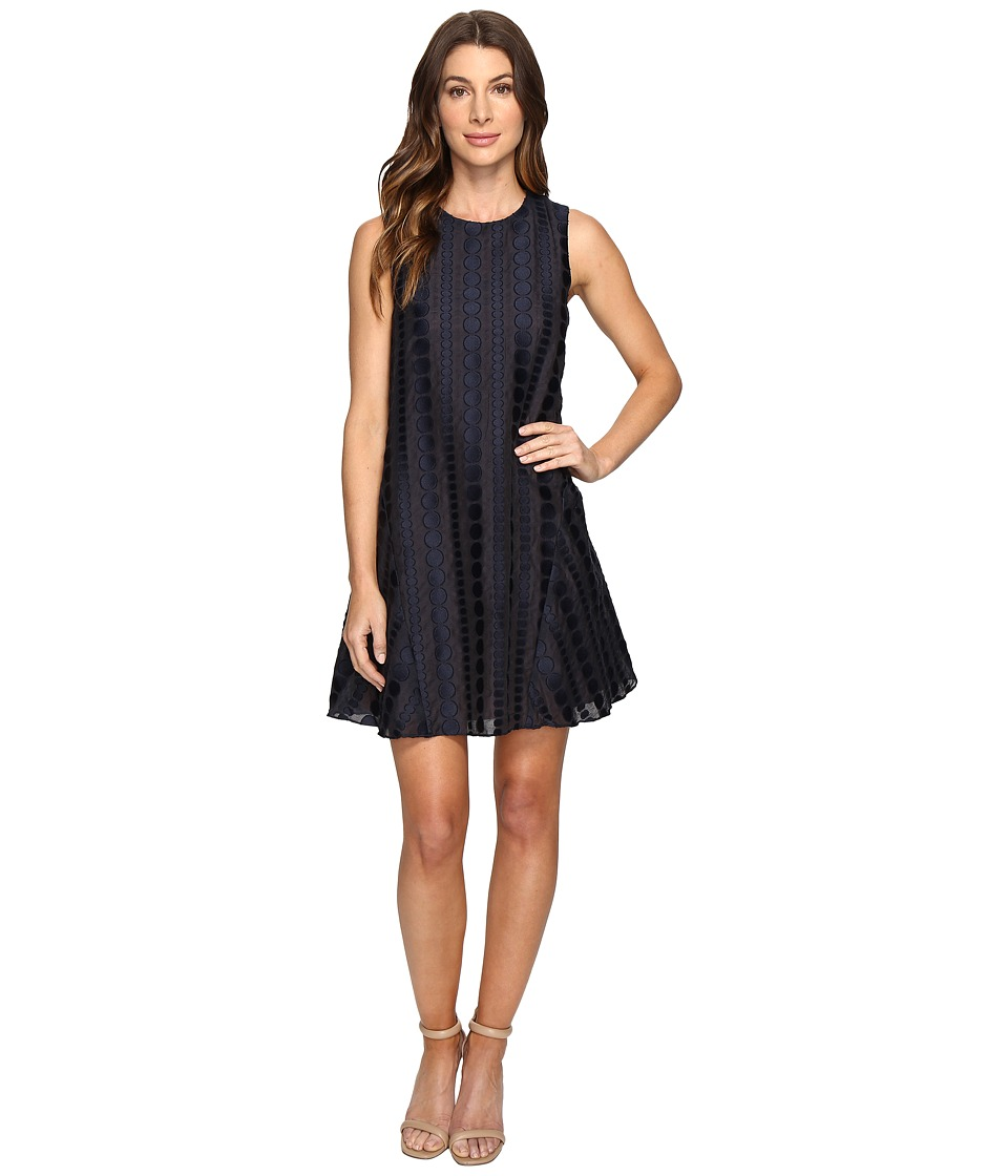 Donna Morgan - Sleeveless Dot Burnout Jacquard Sleeveless Trapeze Dress (Marine Navy) Women's Dress