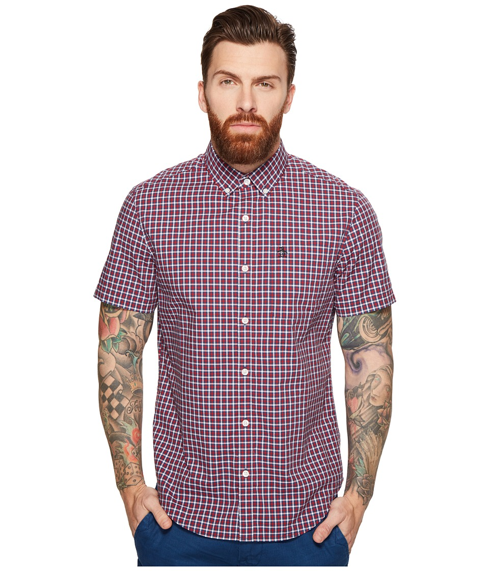 Original Penguin - Short Sleeve Gingham w/ Stretch (Dark Sapphire) Men's Clothing