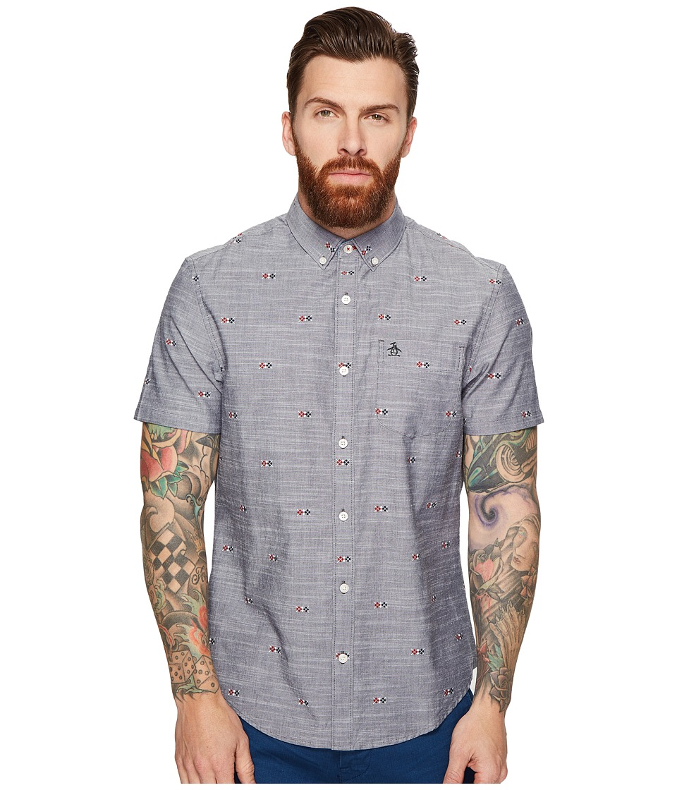 Original Penguin - Short Sleeve Chambray Argyle Print (Dark Sapphire) Men's Clothing