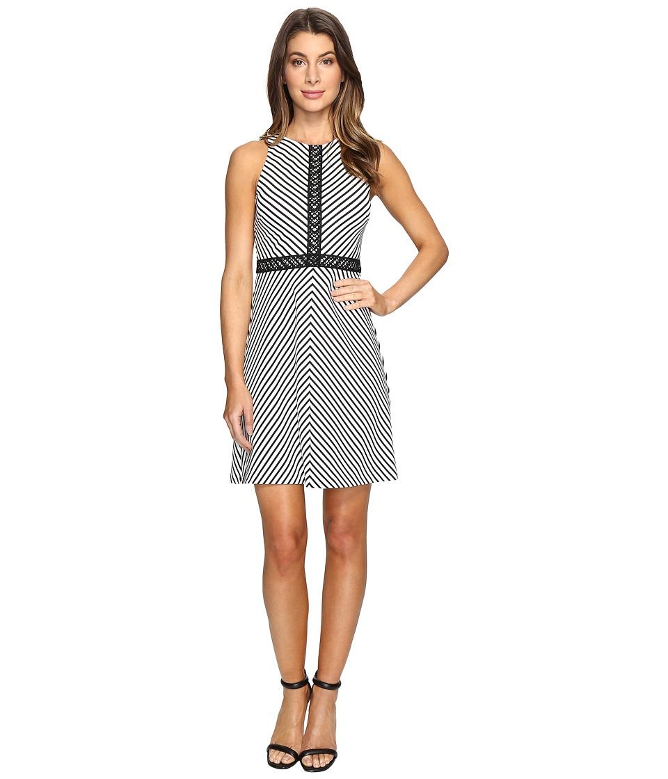 Jessica Simpson - Striped Twill Knit Dress (Ivory/Black) Women's Dress