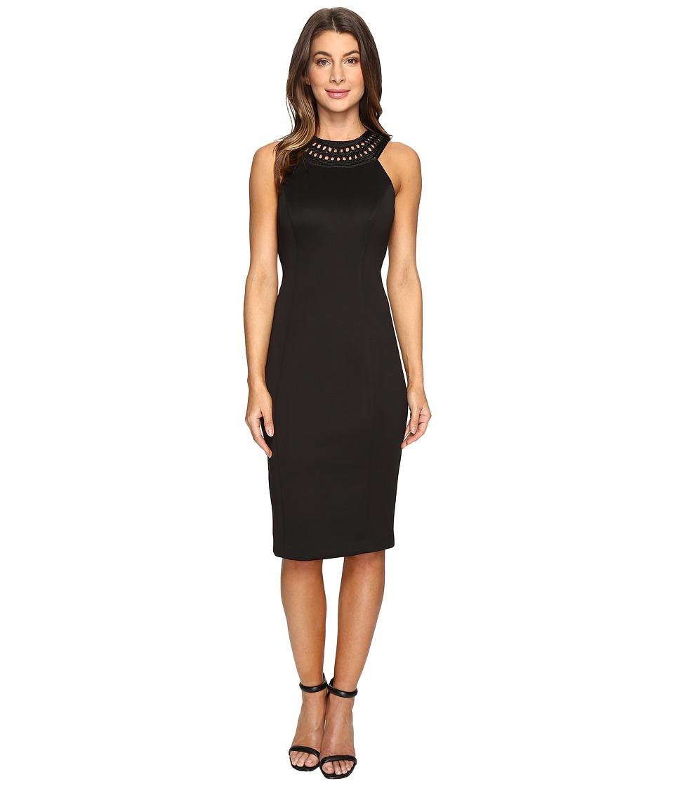 Jessica Simpson - Solid Scuba Midi Dress (Black) Women's Dress