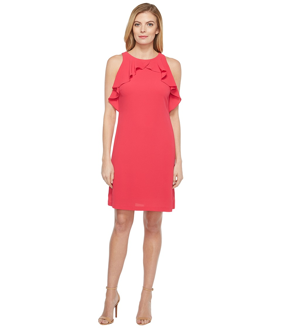 Jessica Simpson - Solid Dress with Ruffle Neck (Rose) Women's Dress