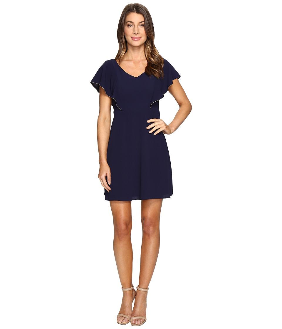 Jessica Simpson V-Neck Flutter Sleeved Dress (Navy) Women