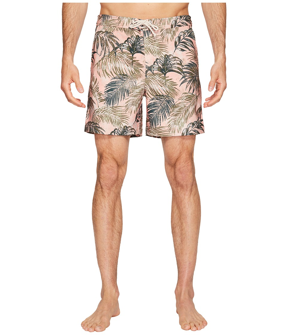Original Penguin - Stretch Tropical Leaf (Coral Almond) Men's Swimwear
