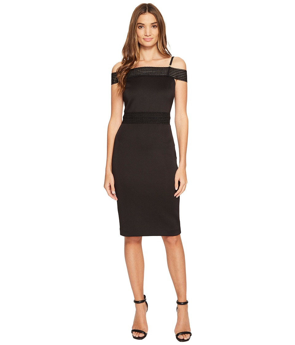 Jessica Simpson - Scuba Off the Shoulder Midi Dress (Black) Women's Dress