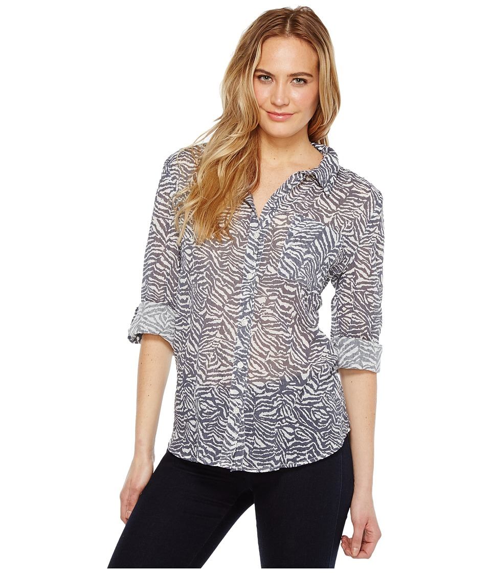 Dylan by True Grit - Gauzy Cotton Zebra Vintage Roll Sleeve Shirt (Carbon) Women's Clothing