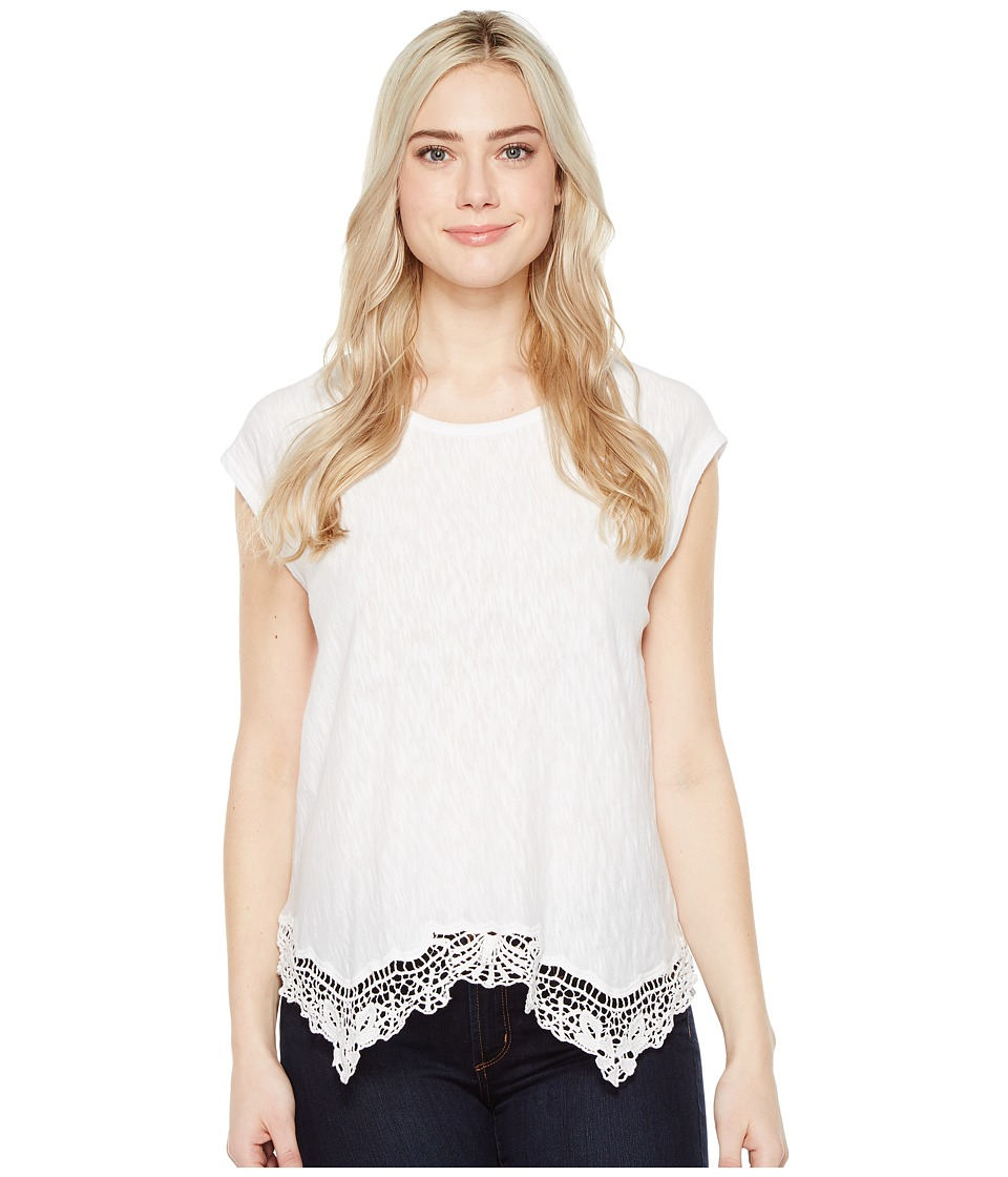 Dylan by True Grit - Soft Slub Cotton Crochet Hem Tee (White Tee) Women's Short Sleeve Pullover