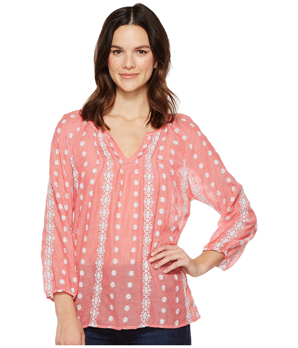 Dylan by True Grit Prarie Pintuck Embroidery Blouse (Red/Sky) Women