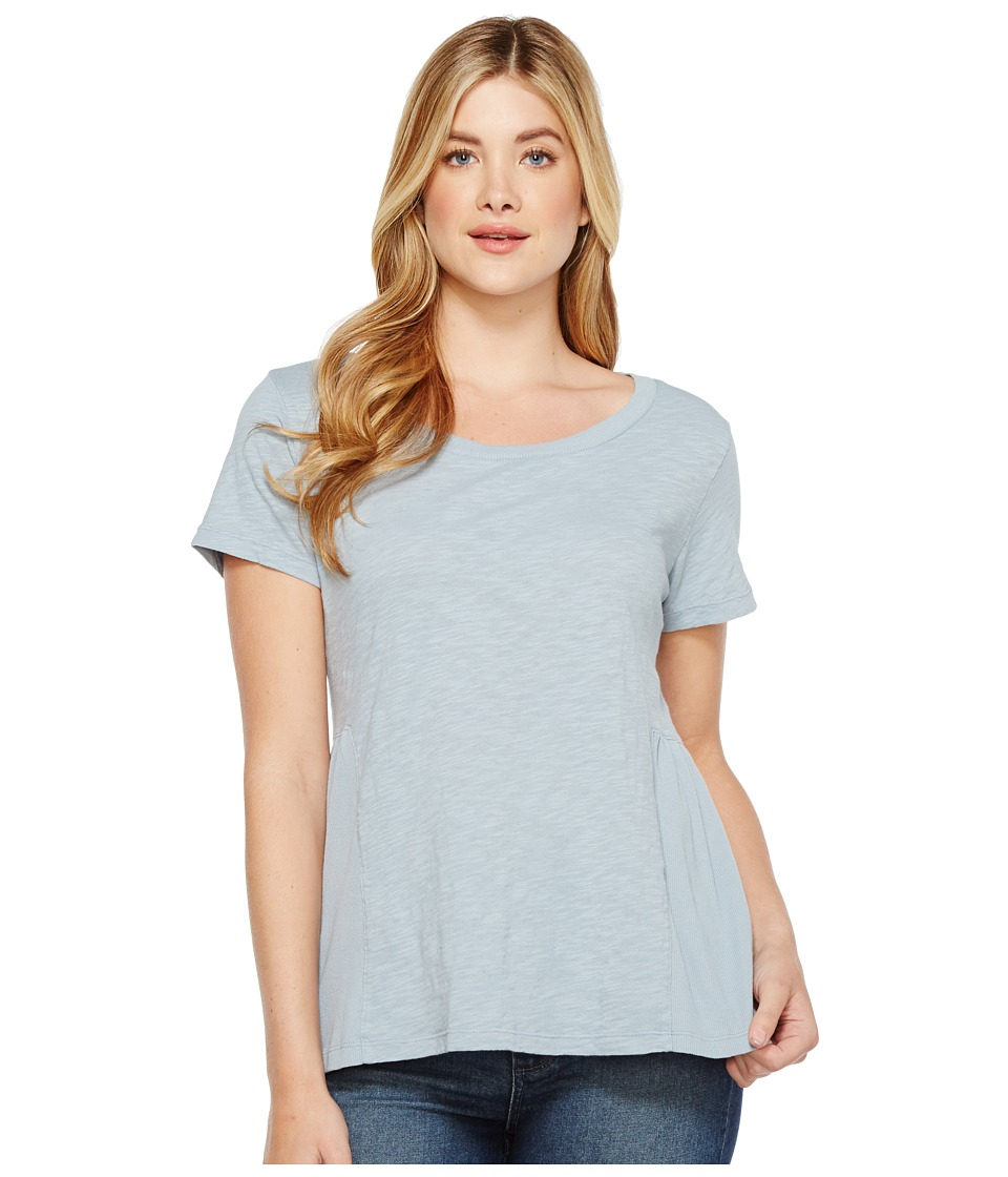 Dylan by True Grit - Soft Slub Cotton Short Sleeve Side Rib Ruffle Tee (Denim Blue) Women's Short Sleeve Pullover
