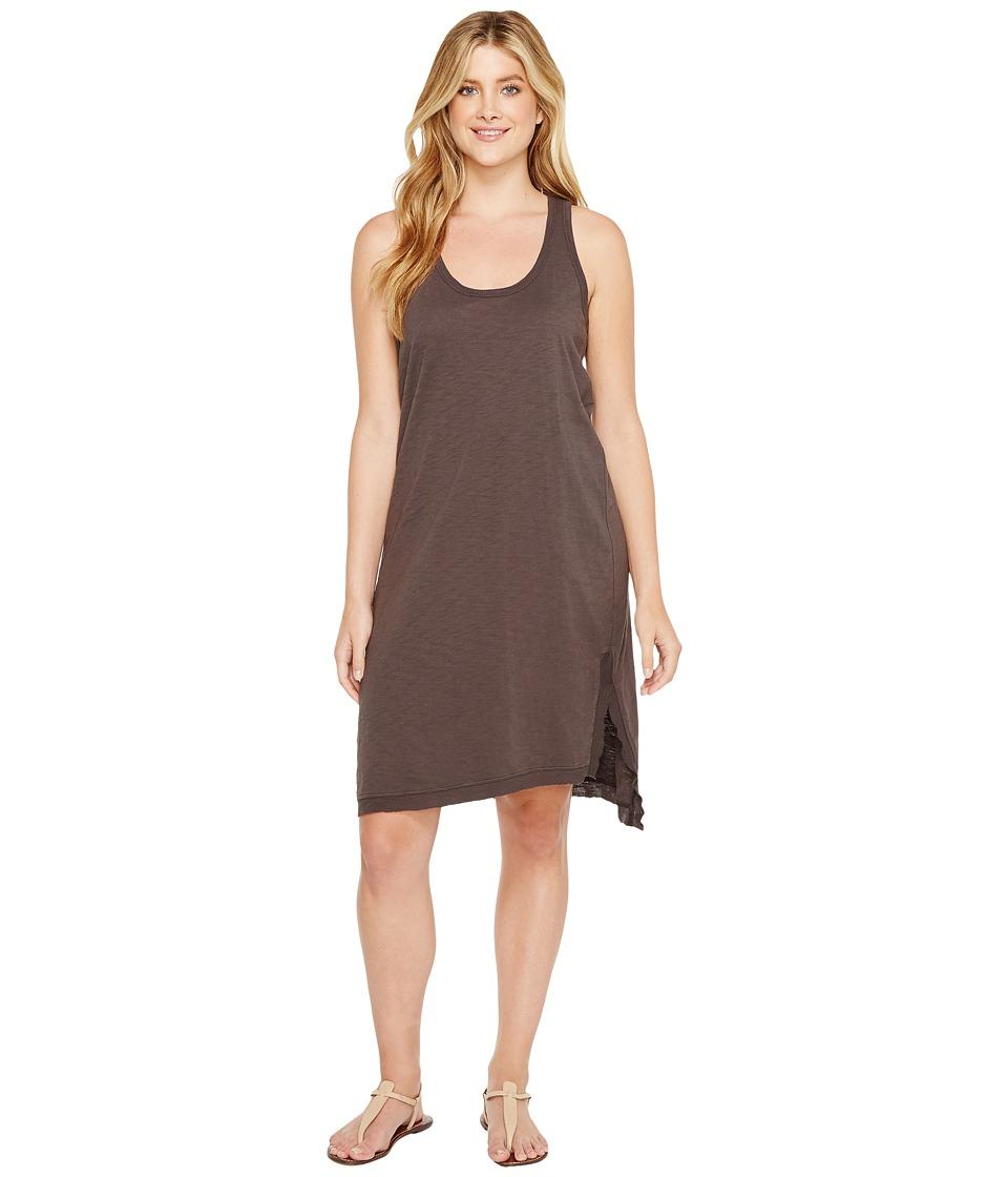 Dylan by True Grit - Luxe Cotton Slub Asymmetrical Slit Dress (Carbon) Women's Dress