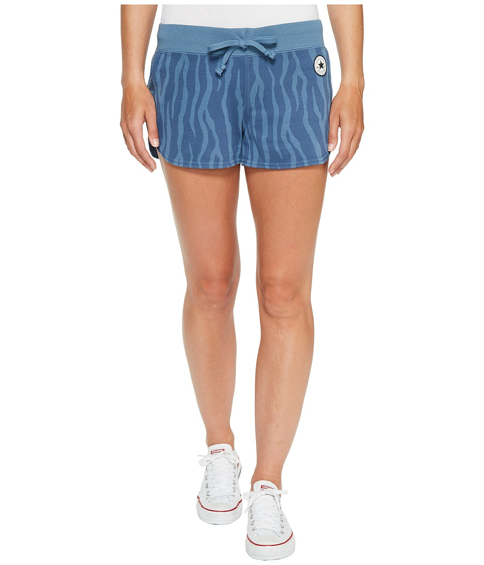 Converse - Mesh Paneled Track Shorts (Blue/Silver) Women's Shorts
