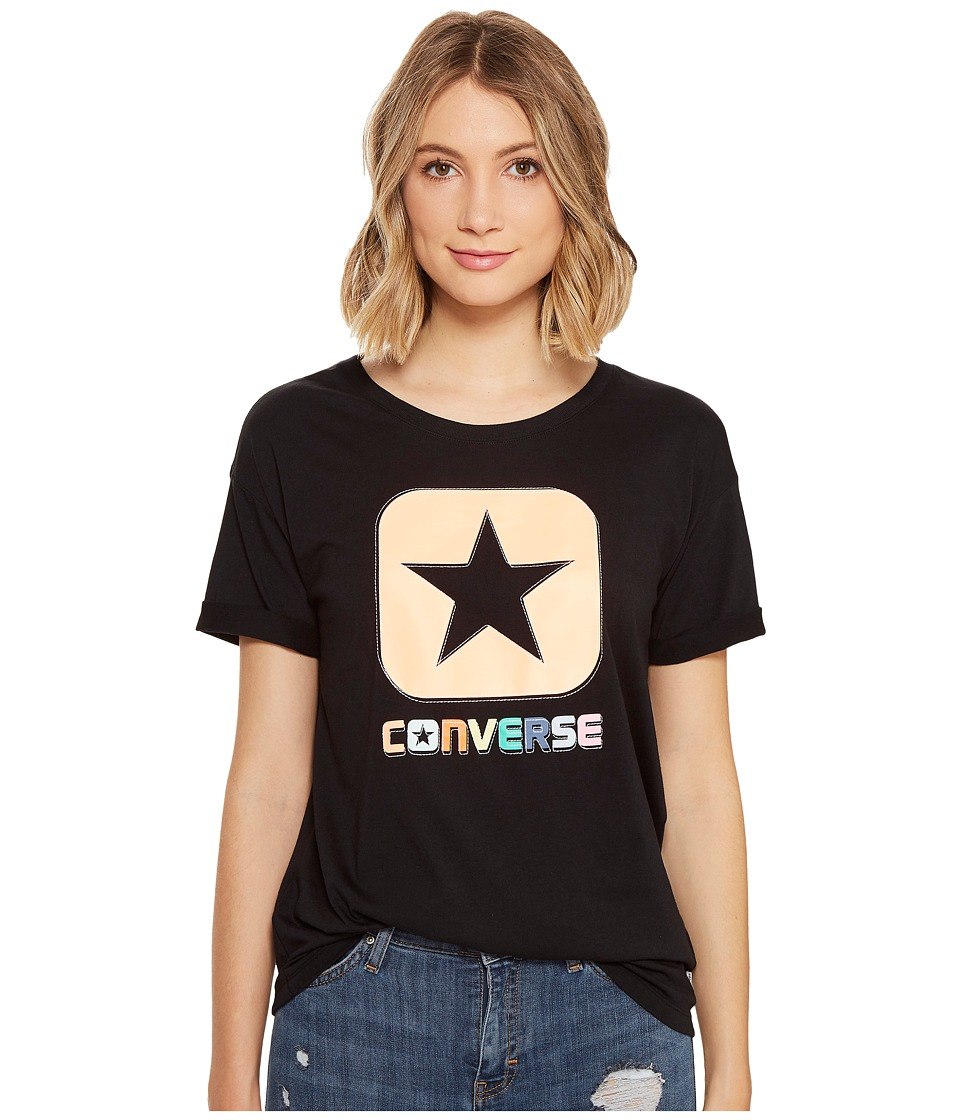 Converse - Embroidered Box Star Easy Crew Tee (Black) Women's T Shirt